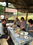 Getting ready for our first meal at the guesthouse in Tusheti.